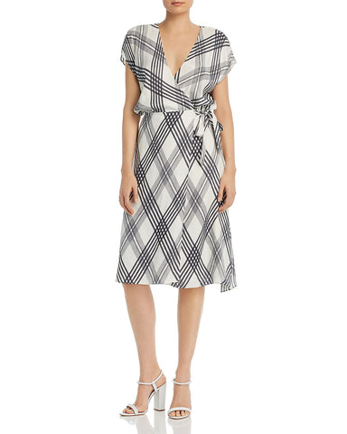Bethwyn B Plaid Wrap Dress in Porcelain