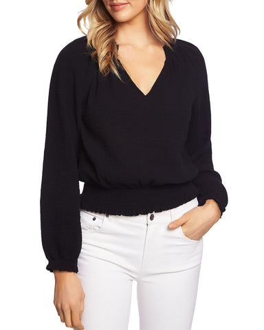 Smocked V-Neck Top in Rich Black