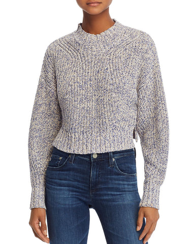 Cropped Sweater in Blue Melange