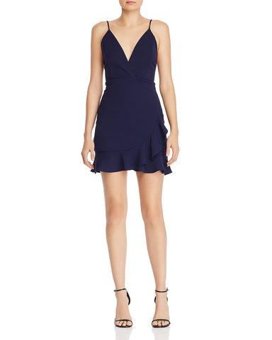 Ruffled Crossover Dress in Super Navy