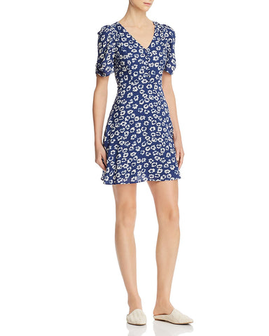 Floral Puffed-Sleeve Dress in Light Navy/White