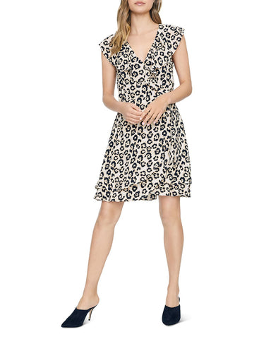 Johanna Leopard Wrap-Front Dress in Leopard