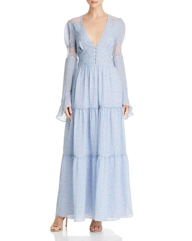 Lace-Inset Maxi Dress in Blue Skies