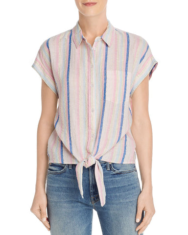 Tie-Hem Striped Shirt in Pink/Blue