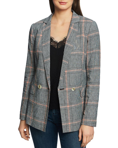 Plaid Double-Breasted Blazer in Rich Black