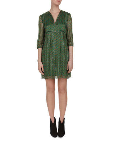 Willow Metallic Herringbone Print Shift Dress in Vert
