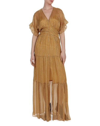 Wanda Metallic Herringbone Print Maxi Dress in Ocre