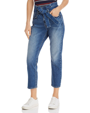 Paperbag-Waist Belted Tapered Jeans in Myrtle
