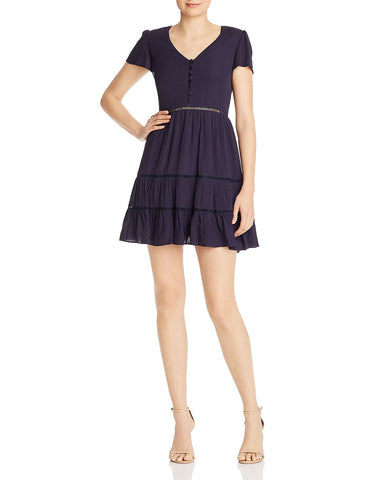 Lace-Inset Fit-and-Flare Dress in Navy