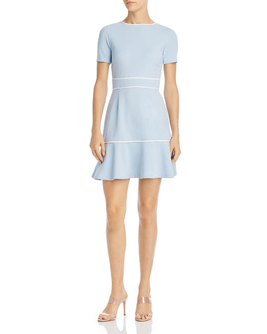 Piped Flounce-Hem Dress in Blue/White