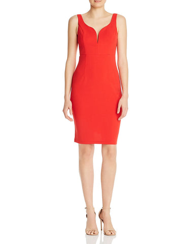 Notched Body-Con Dress in Red
