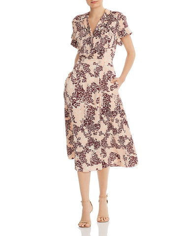Orlenna Printed Silk-Blend Dress in Rose Cloud