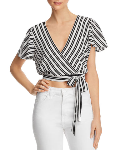 Striped Cropped Faux-Wrap Top in Navy/White