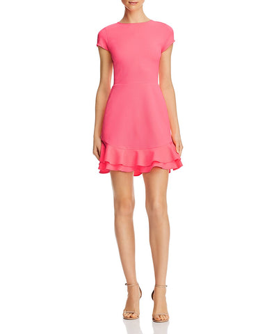 Textured Ruffle-Hem Dress in Neon Pink