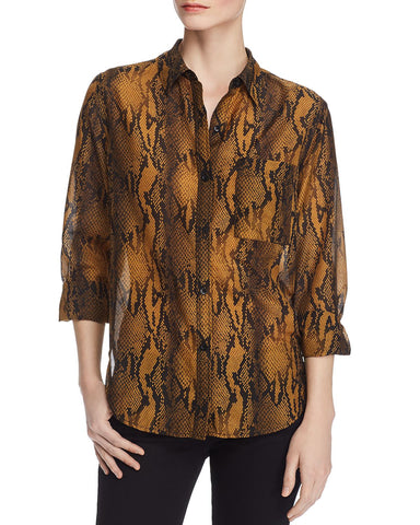 The Neal Shirt in Bronze Brown Python