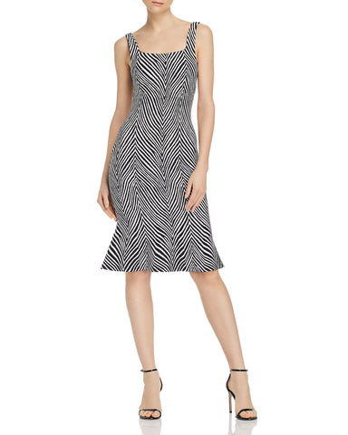 Shondra Zebra-Print Midi Dress in Black/White