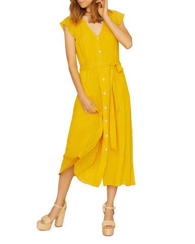 Eden Button-Front Midi Dress in Desert Marigold