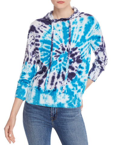 Tie-Dye Hooded Sweater in White/Blue/Turquoise