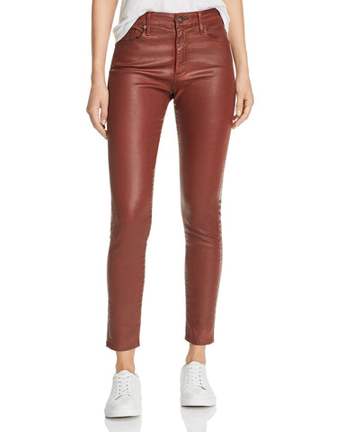 Farrah Faux-Leather Ankle Skinny Jeans in Rich Crimson