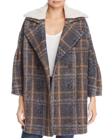 Angalina Double-Breasted Plaid Coat in Blue