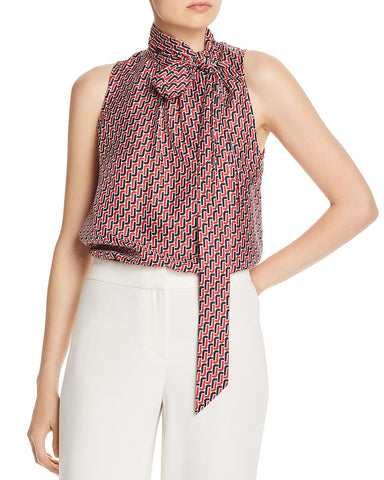 Pascale Tie-Neck Silk Top in Big Apple