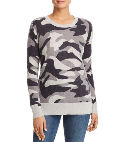 Camo Cashmere Sweater in Light Gray Combo