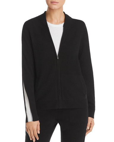 Track-Stripe Zip-Front Cashmere Cardigan in Black/Ivory/Gray