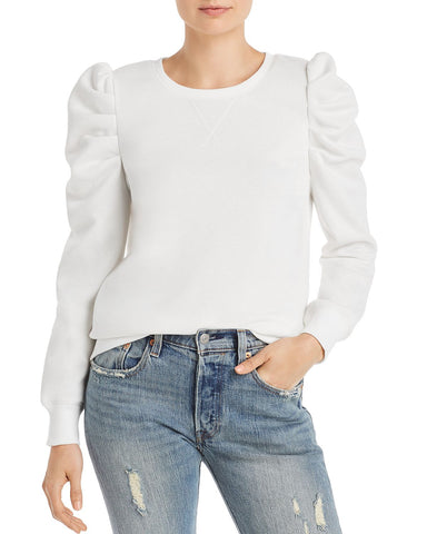 Janine Pleated Shoulder Sweatshirt in Ecru