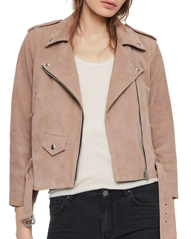 Layla Cropped Suede Biker Jacket in Fig Pink