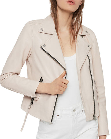 Dalby Leather Biker Jacket in Nude Pink