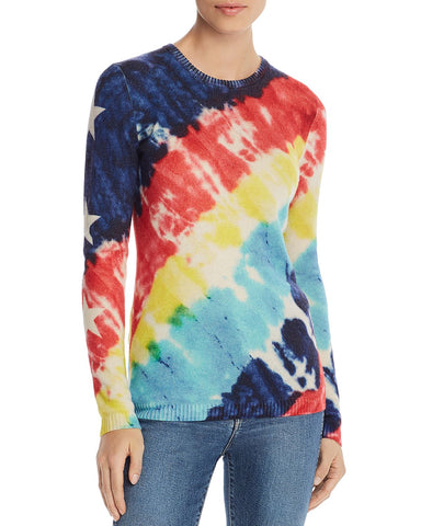 Tie-Dye Star-Sleeve Cashmere Sweater in Multi