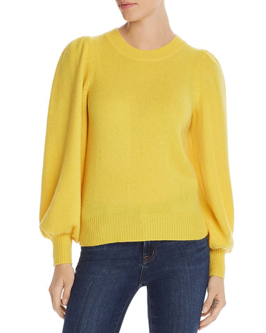 Puff-Sleeve Cashmere Sweater in Dandelion