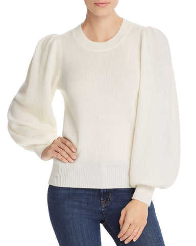 Puff-Sleeve Cashmere Sweater in Ivory