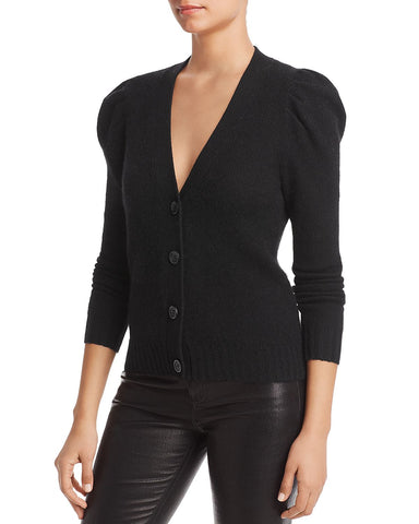 Puff-Sleeve Cashmere Cardigan in Black