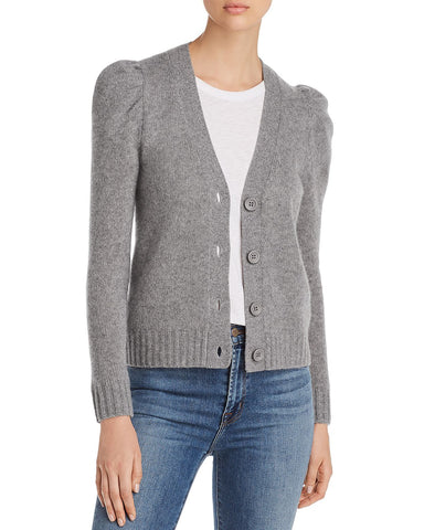 Puff-Sleeve Cashmere Cardigan in Medium Gray
