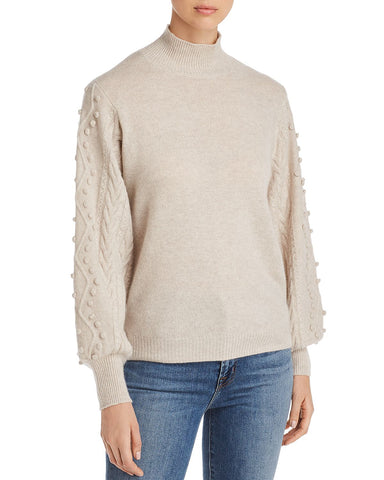 Popcorn-Sleeve Cashmere Sweater in Mojave