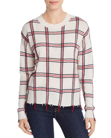 Cashmere Distressed Plaid Cashmere Sweater in Ivory Combo