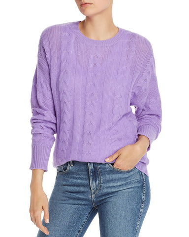 Cashmere Cable-Knit Crewneck Sweater in Bright Lavender
