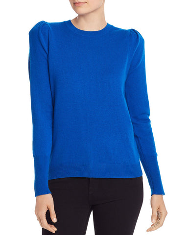 Cashmere Puff-Sleeve Cashmere Sweater in Electric Blue