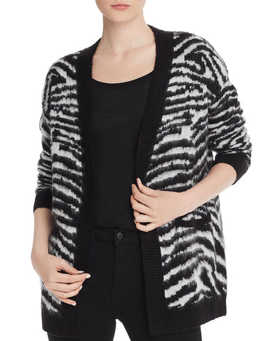 Zebra-Print Open-Front Cardigan in Black/White