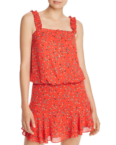 Ruffled Ditsy Floral-Print Tank in Bright Red