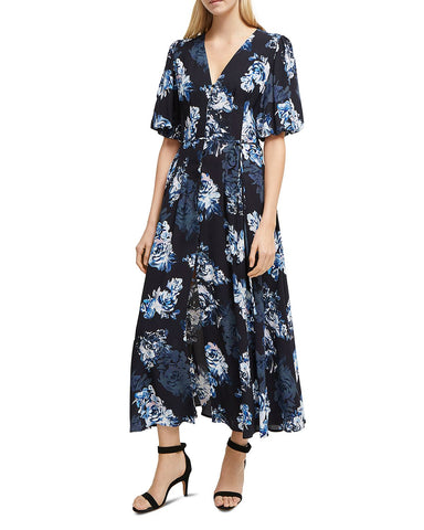 Caterina Floral Midi Dress in Utility Blue