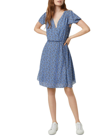 Agate Faux-Wrap Dress in Anabelle Blue