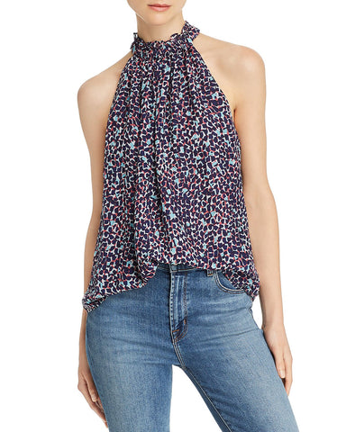Sleeveless Printed Silk Top in Navy Combo