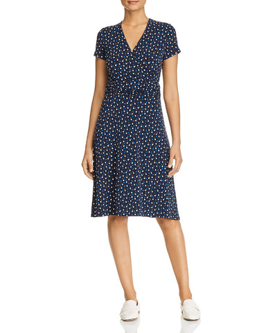 Amyia Faux-Wrap Dress in Twilight Dot Classic Navy
