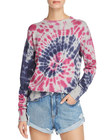 Tie-Dye Crewneck Sweater in Grey/Pink/Blue