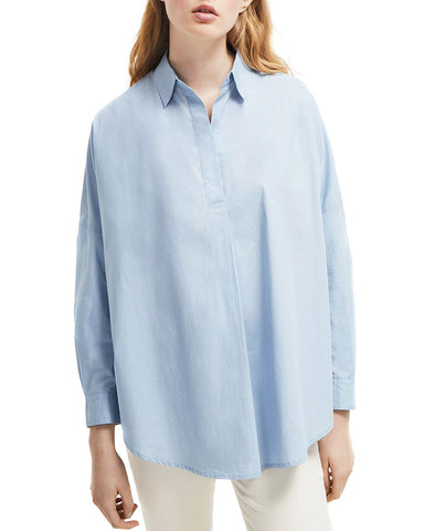 Rhodes Cotton Poplin Shirt in Blue