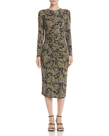 Aja Long-Sleeve Paisley Midi Dress in Golden Hour