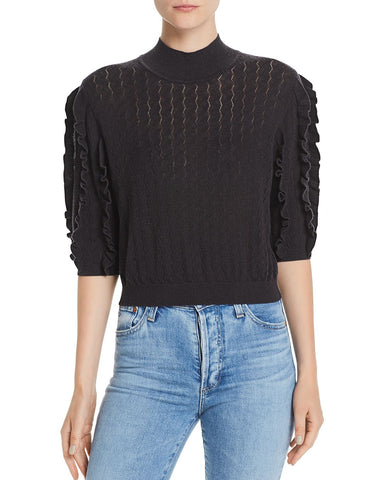 Halton Pointelle Ruffle-Trim Sweater in Caviar