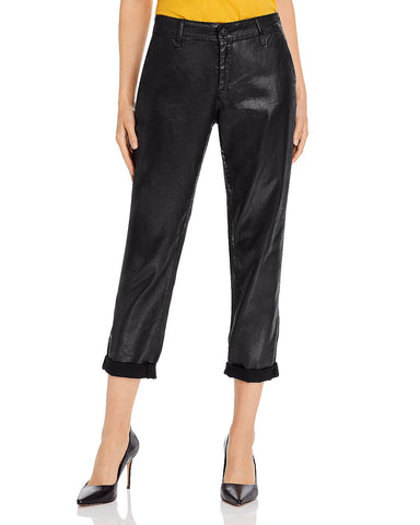 Caden Coated Cropped Pants in Leatherette Super Black
